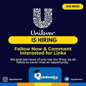 Unilever Job: Analytics Product Executive