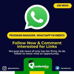 Job in WhatsApp: Program Manager Job