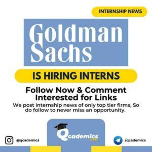 Internship in Goldman Sachs: Summer Analyst
