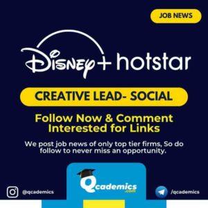 Job in Hotstar : Creative Lead Job News