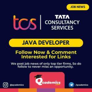Job at TCS: Java Developer Job News