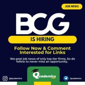 BCG Jobs News: Data Analytics Job