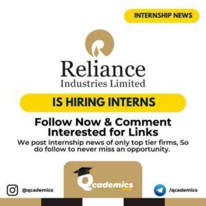 Internship at Reliance: Operations